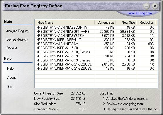 Eusing Free Registry Defrag 2.3 MainInterface