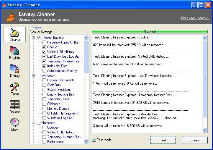Eusing Cleaner 4.8 screenshot