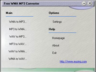 Audio converter for WMA, MP3 and WAV format.