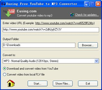 Eusing Free YouTube to MP3 Converter 1.2
